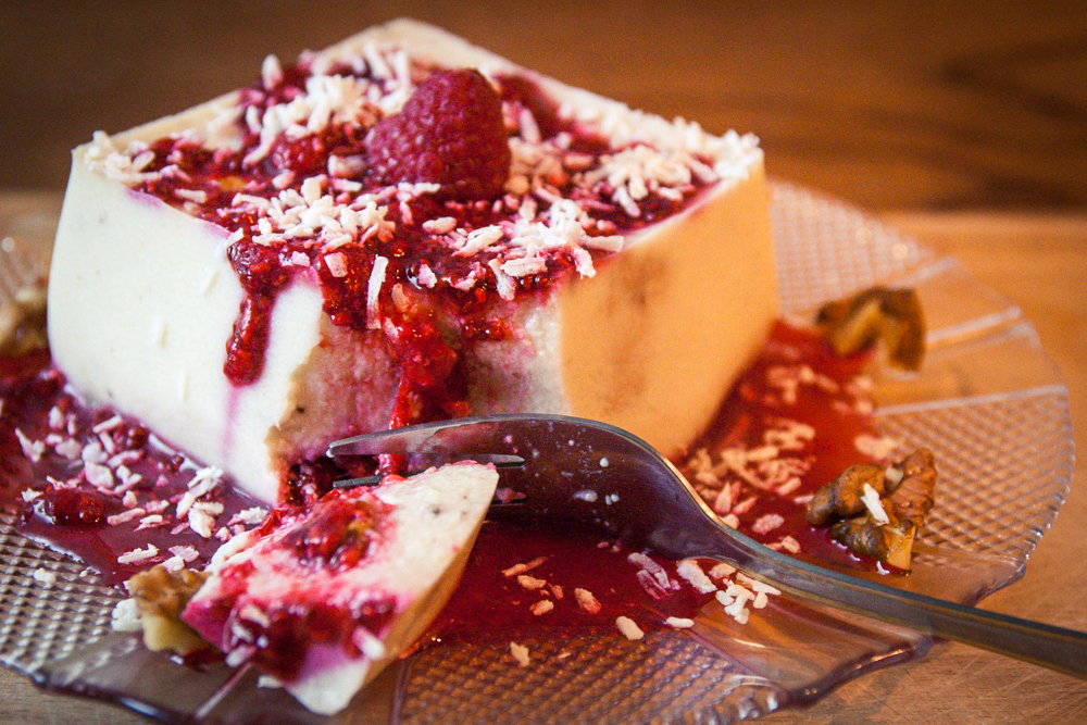 dessert végane délice fondant framboise